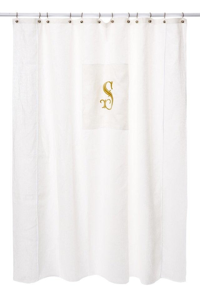 French Monogram Shower Curtain, Gold