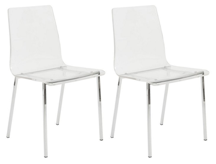 Clear Acrylic Chairs, Pair