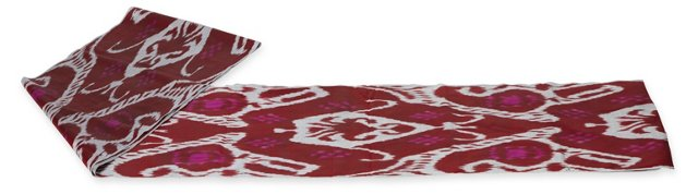 Ikat Fabric, Red & Steel, 4.2 Yds.
