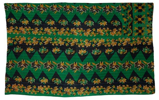 Kantha Throw, Green