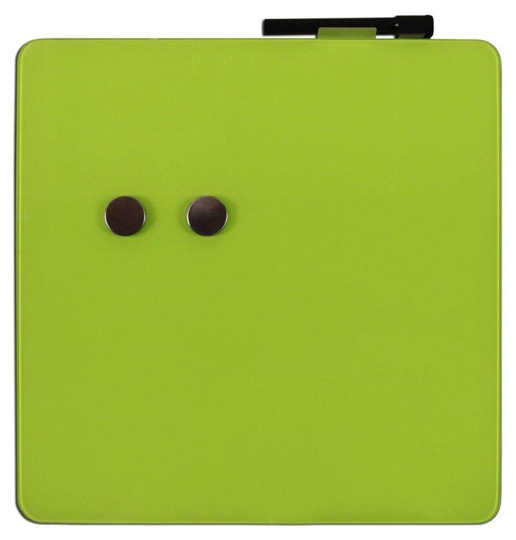"15"" Magnetic Glass Square Board, Green"