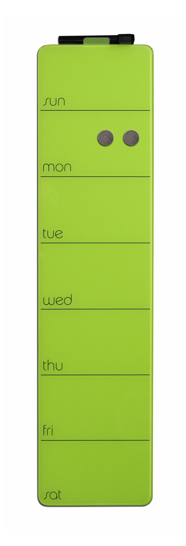 Magnetic Glass  Weekly Planner, Green