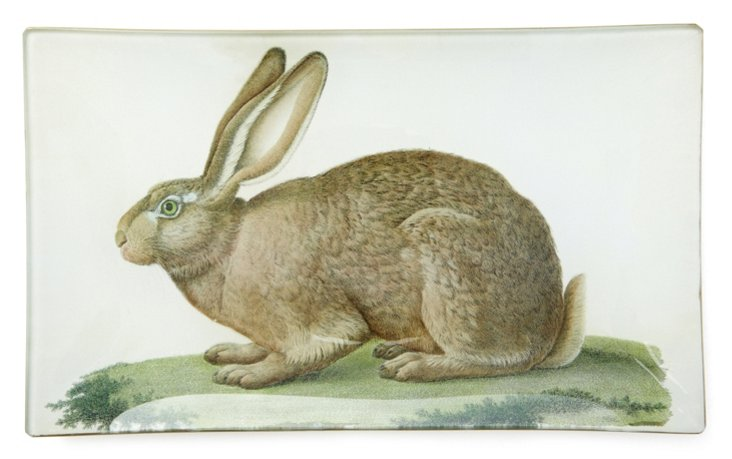 Hand-Decoupaged Rabbit  Tray, Brown