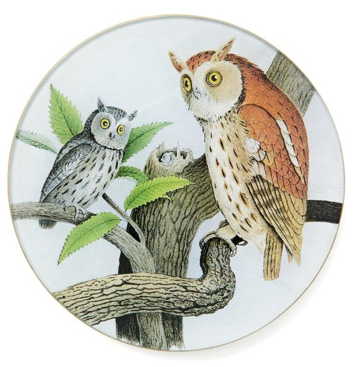 """6"""" Rd. Mottled Owl Pair Tray"""