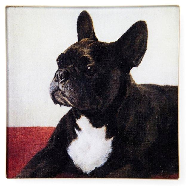 Hand-Decoupaged French Bulldog Tray