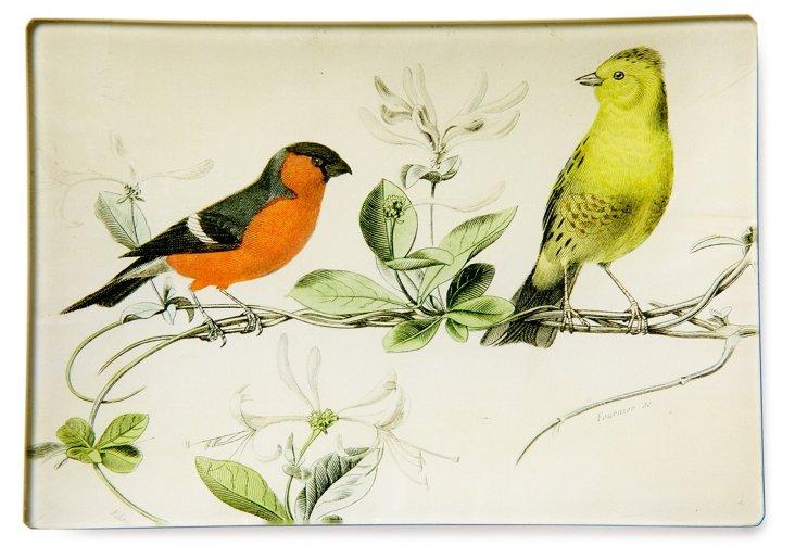 Hand-Decoupaged Resting Birds Tray
