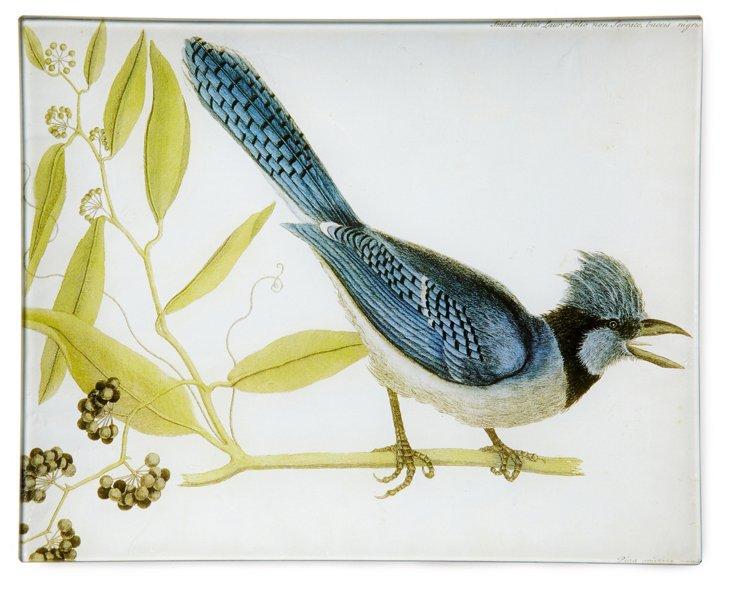 Hand-Decoupaged Blue Jay w/ Berries Tray