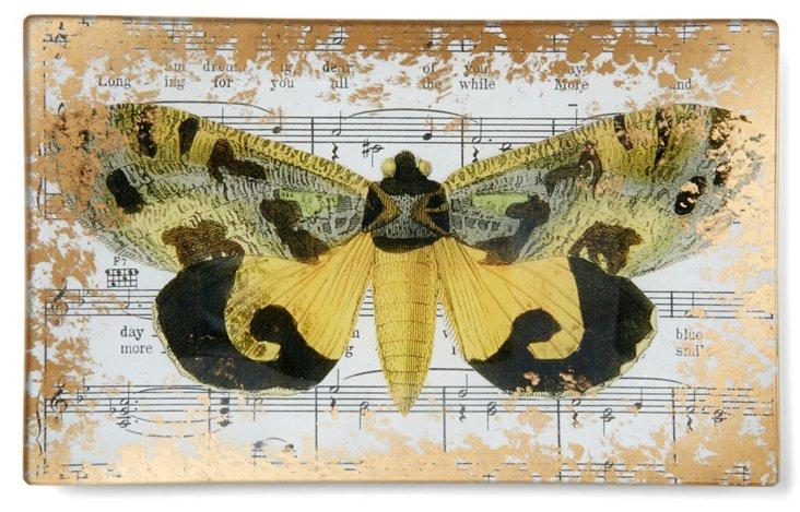Gilded Moth Hand-Decoupaged Tray