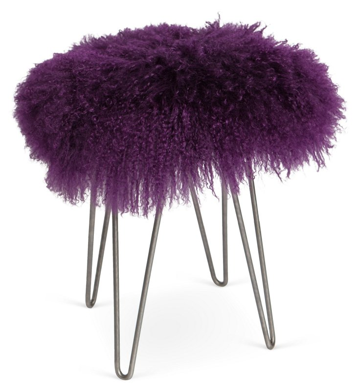 Curly Hairpin Stool, Purple