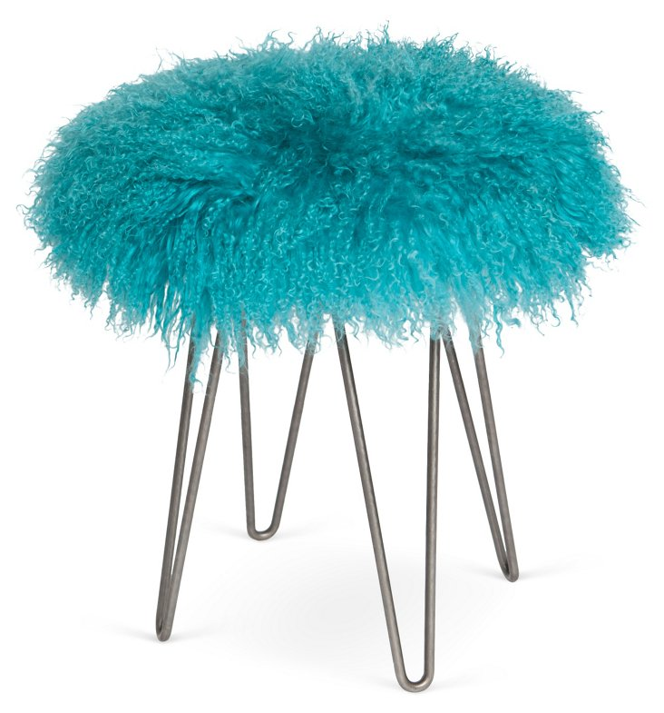 Curly Hairpin Stool, Turquoise