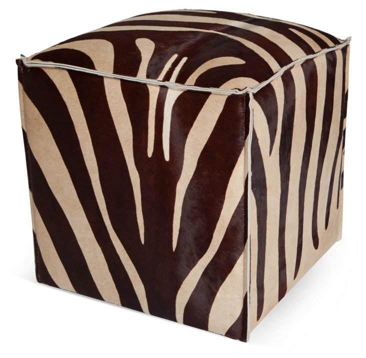 "Zebra 18"" Pouf, Brown/Beige"