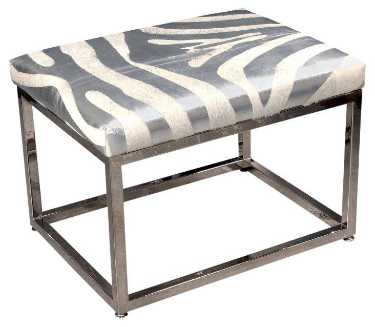 """Colette 24"""" Bench, Silver/White Zebra"""