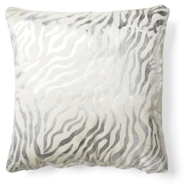 Zebra 20x20 Hide Pillow, Silver