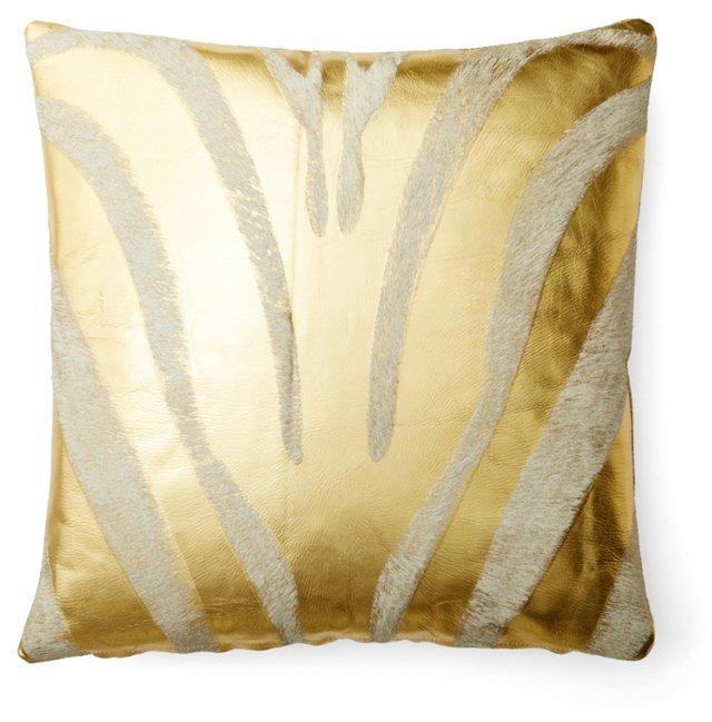 Zebra 22x22 Hide Pillow, Gold