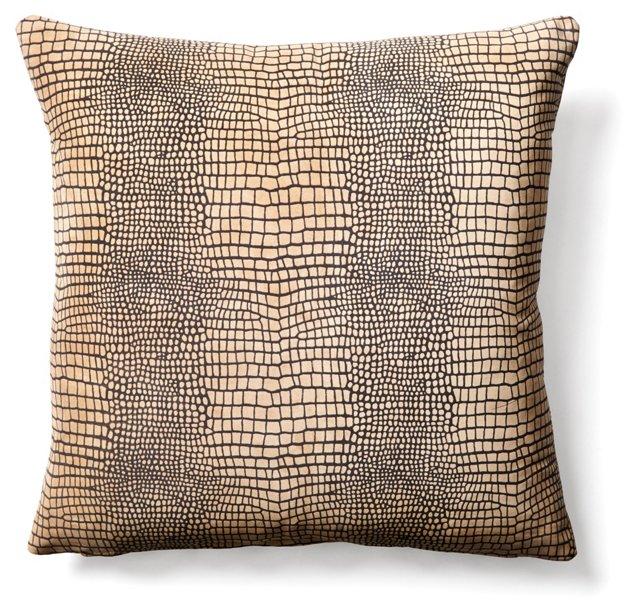 Alligator 20x20 Suede Pillow, Beige