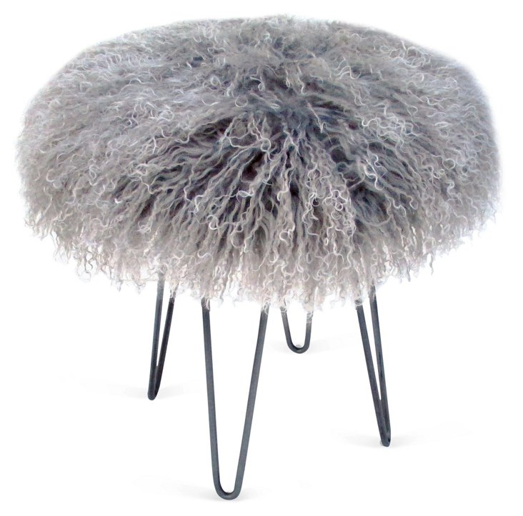 "Curly Hairpin 16""Dia Stool, Gray"
