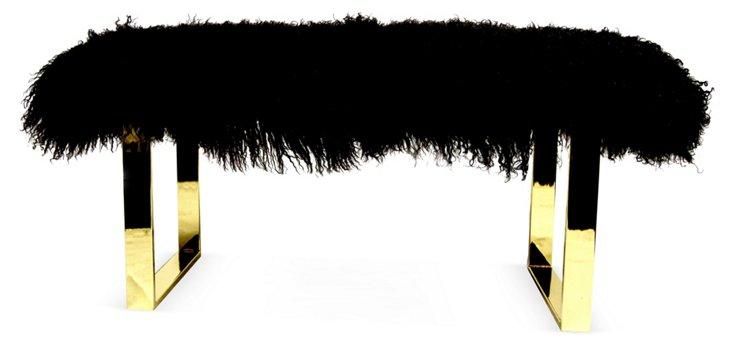 """Curly BeBe 38"""" Bench, Brass/Black"""