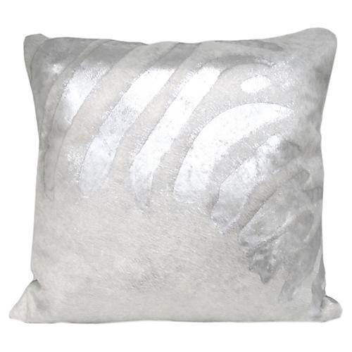 Zebra Pillow, White/Silver