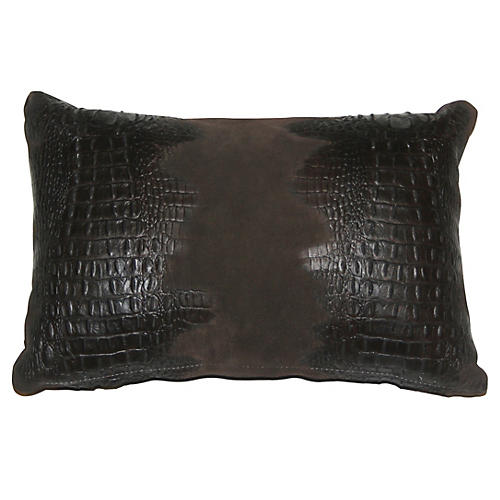 Croc 12x18 Lumbar Pillow, Brown Suede