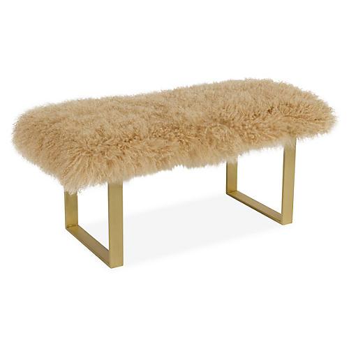 Curly Bebe Bench, Brass/Beige