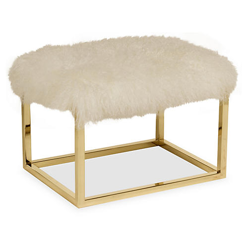 "Curly Chris 24"" Bench, Brass/Ivory"