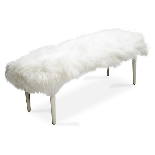 Curly Adolfo Bench, White