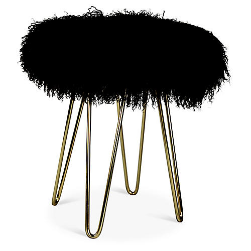 Curly Hairpin Stool, Brass/Black