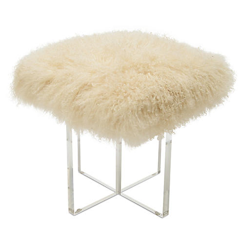 "Curly Kiss 16"" Stool, Beige"