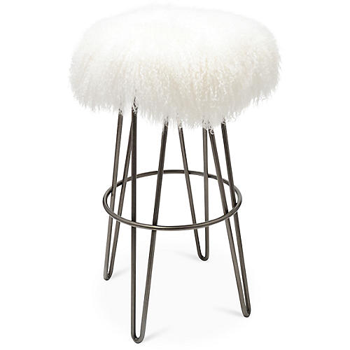 Curly Hairpin Barstool, Silver/White