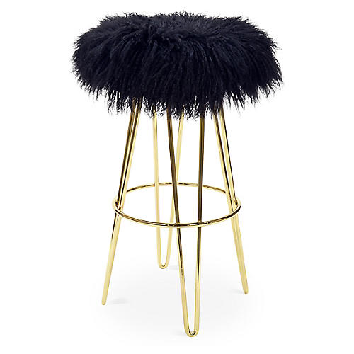 Curly Hairpin Barstool, Brass/Black