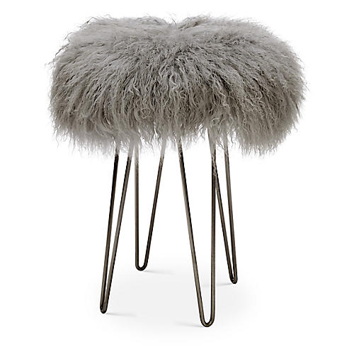 Curly Hairpin Counter Stool, Pewter/Gray