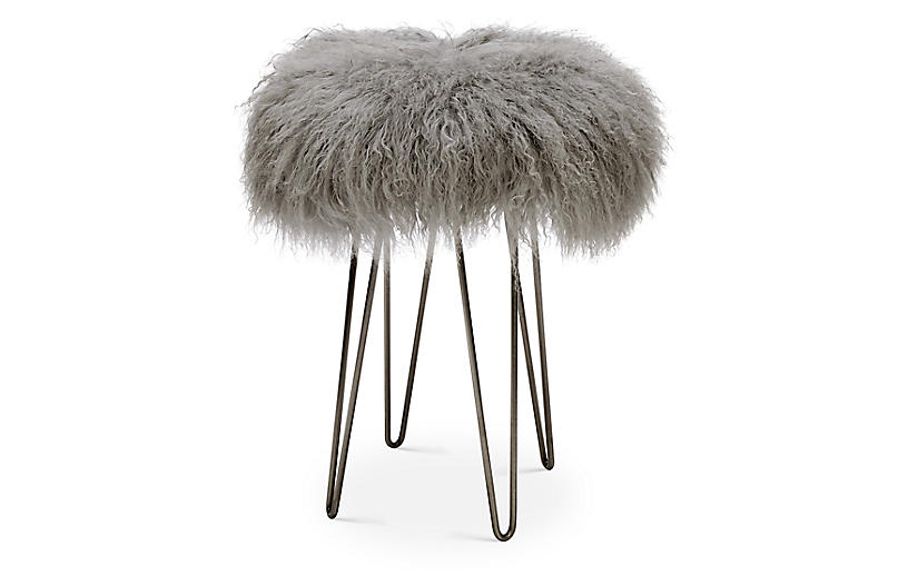 Curly Hairpin Counter Stool - Pewter/Gray - Le-Coterie