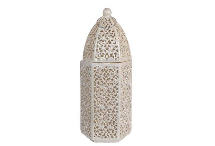"20"" Ceramic Lantern, Ivory"