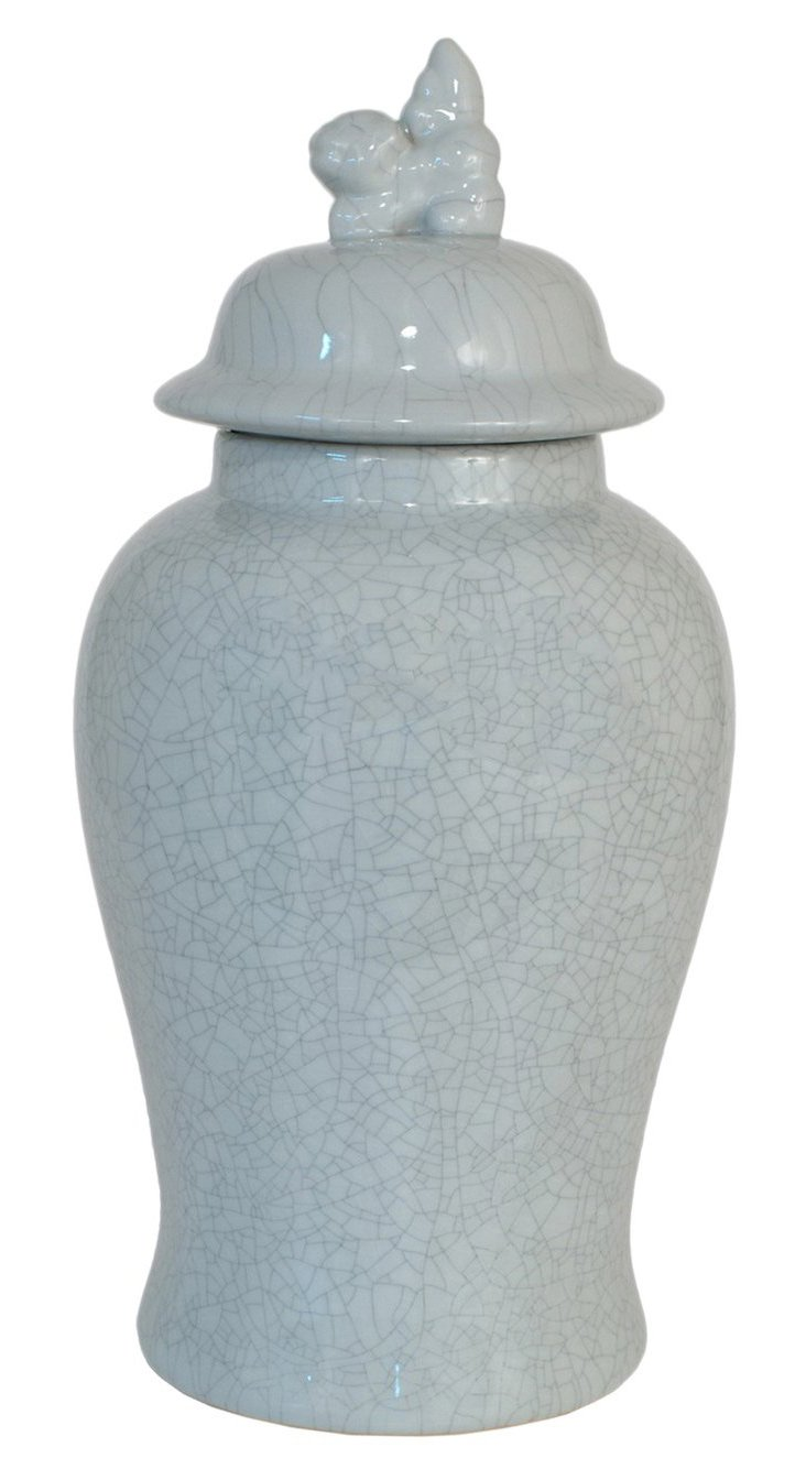 "18"" Ceramic Covered Jar, Gray"