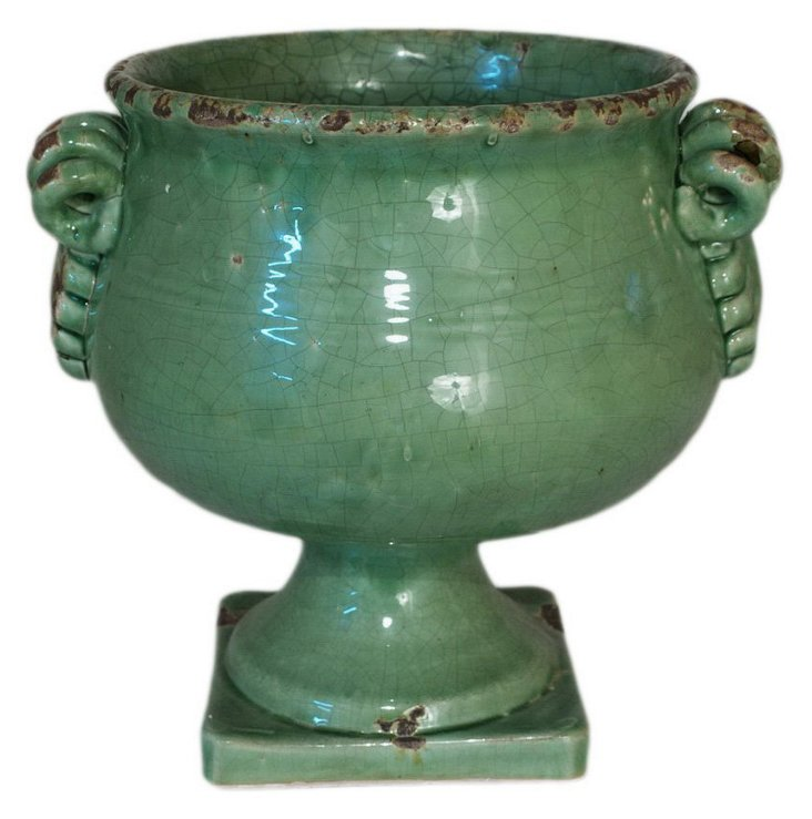 "11"" Ceramic Planter, Green"