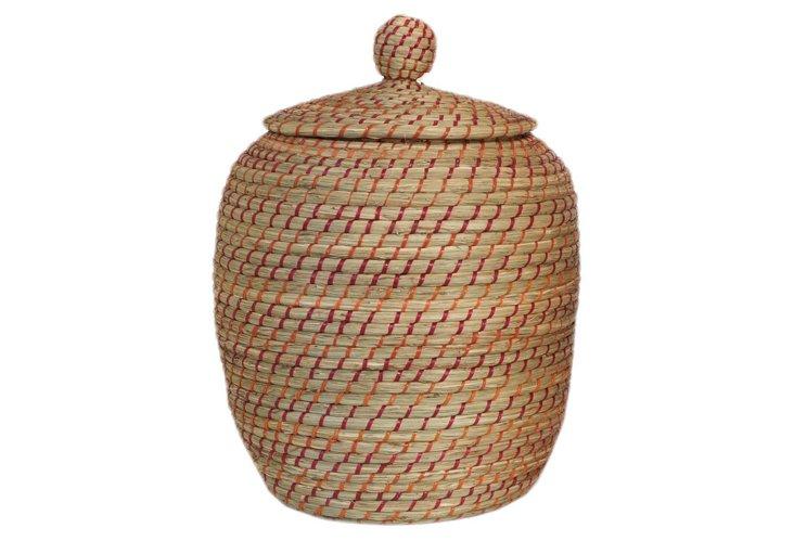 Natural Fiber Curved Basket, Red/Brown