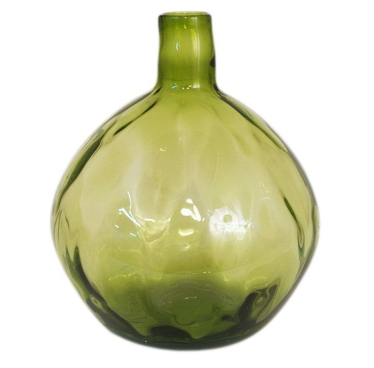 "11"" Glass Vase, Green"