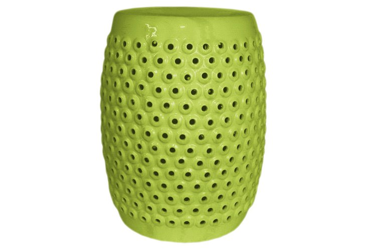 Pierced Ceramic Garden Stool, Green