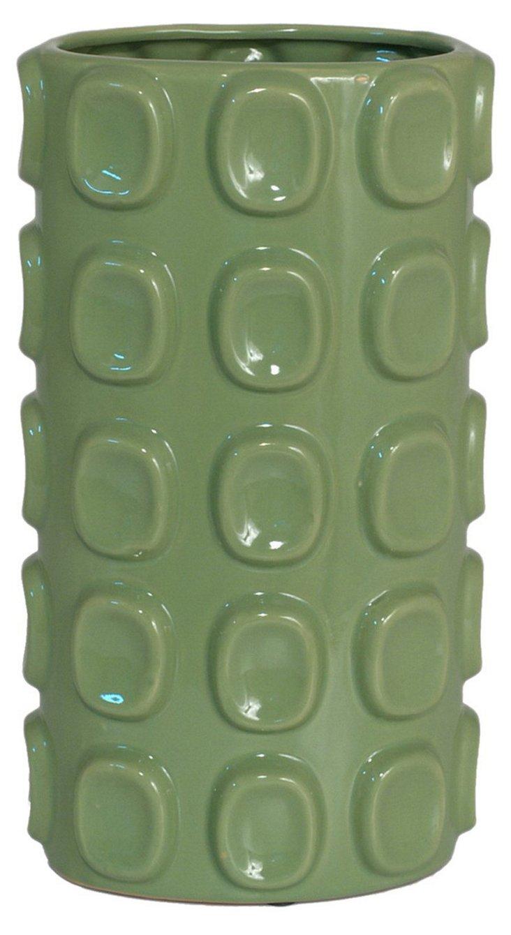 Raised Relief Vase, Green