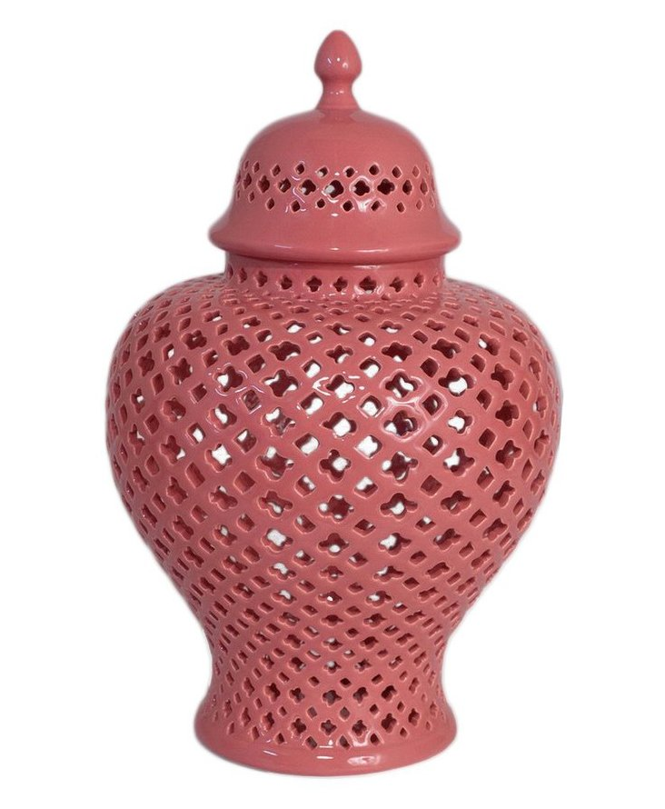 "15"" Covered Temple Jar, Coral"