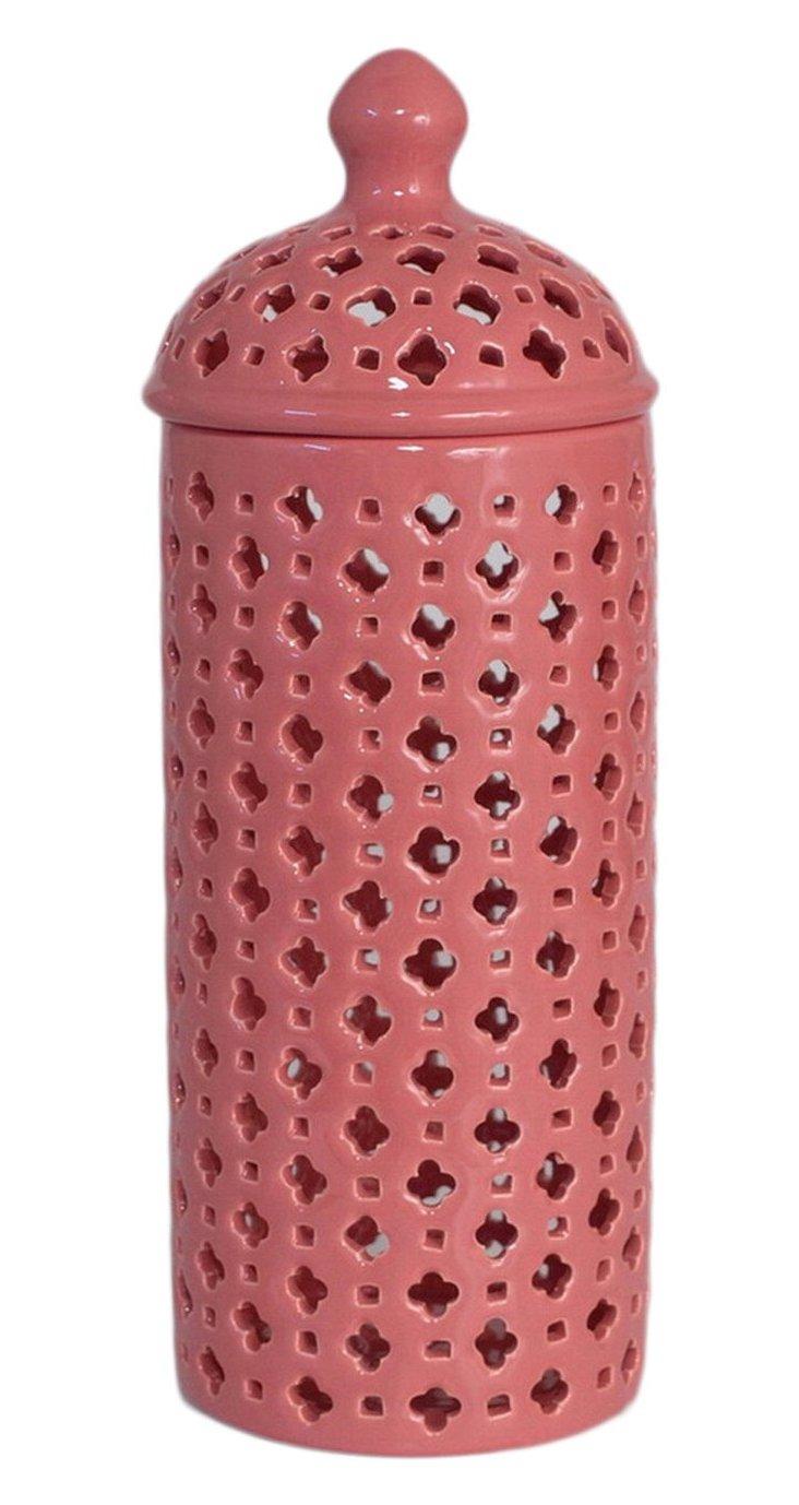 "Pierced Ceramic Jar, 14"" Coral"