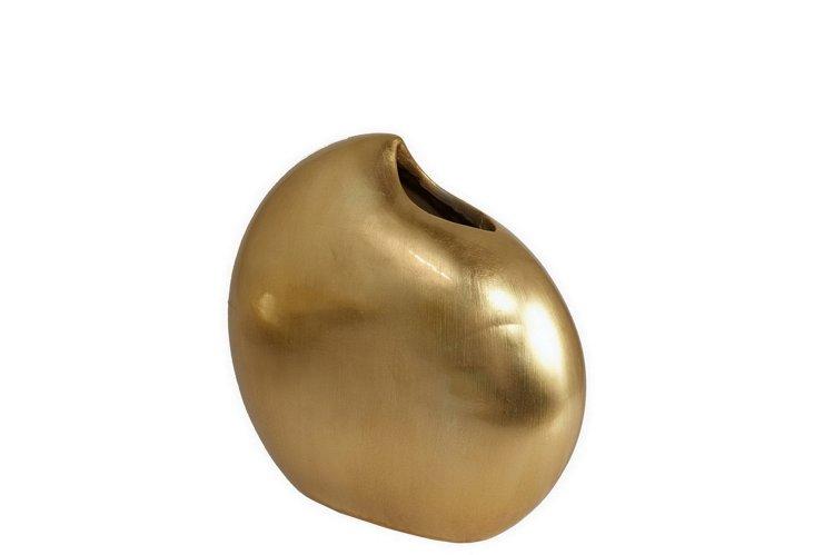"13"" Resin Vase, Gold"