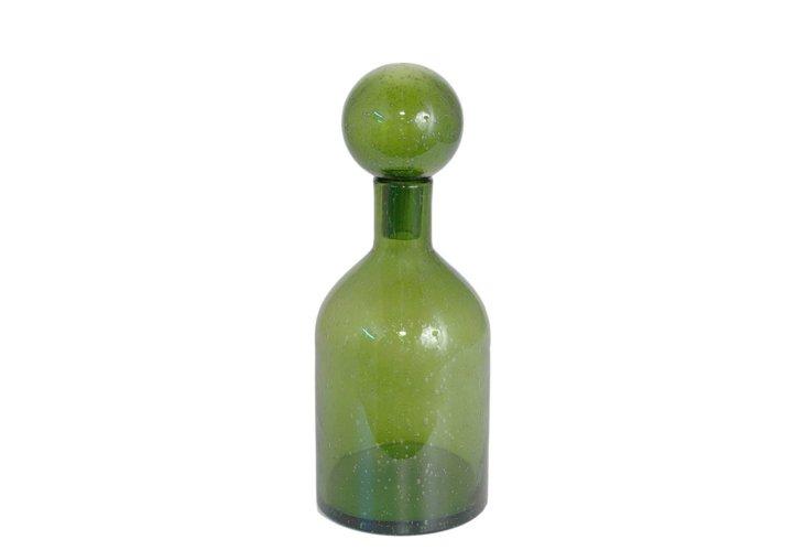 """16"""" Covered Glass Bottle Vase, Green"""