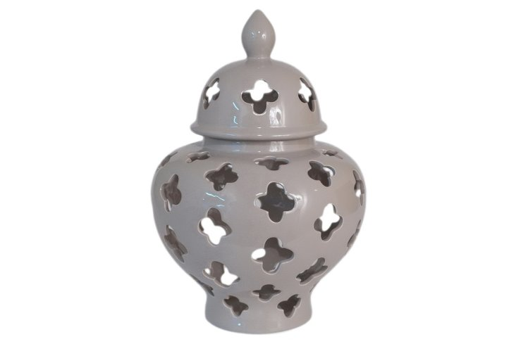 "16"" Covered Temple Jar, Gray"