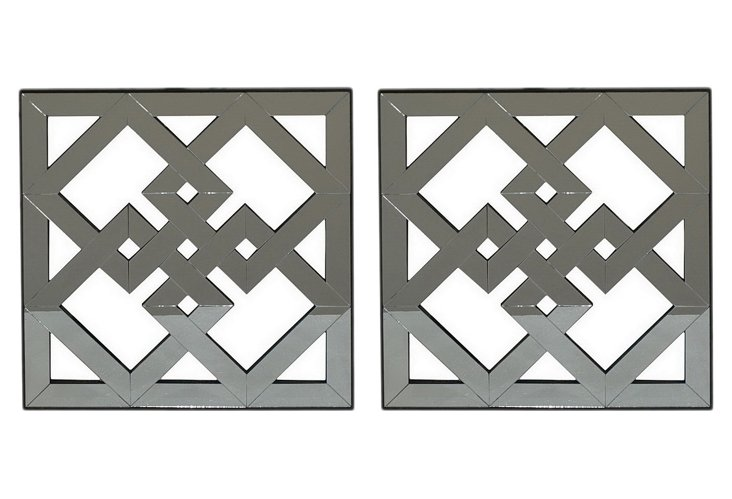 Tilted Squares Wall Art, Set of 2