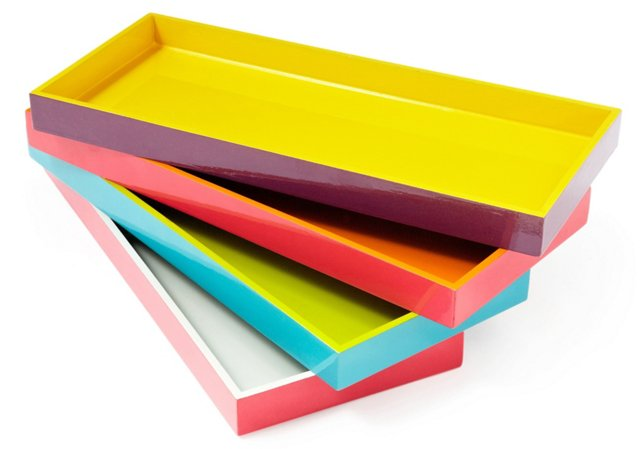 Asst. of 4 Two-Tone Wood Trays, Multi