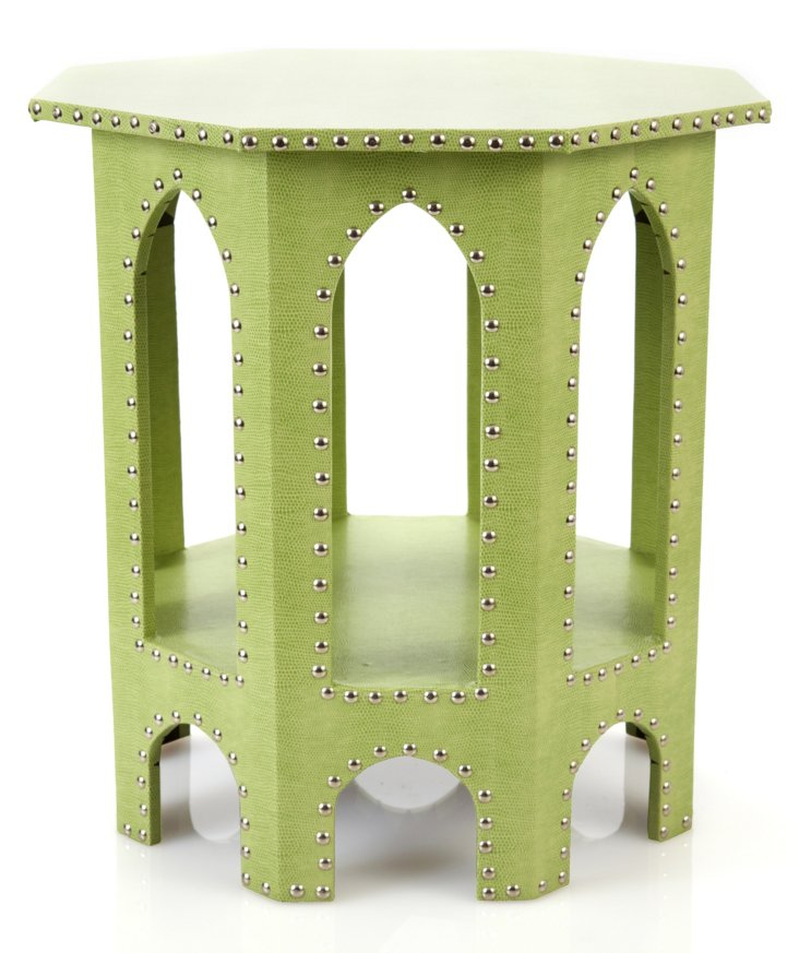 Studded Moroccan Table, Lime Green
