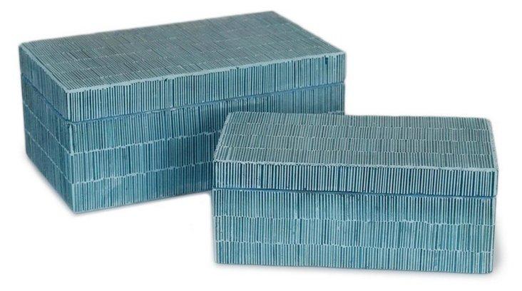 S/2 Asst. Mosaic Boxes, Blue