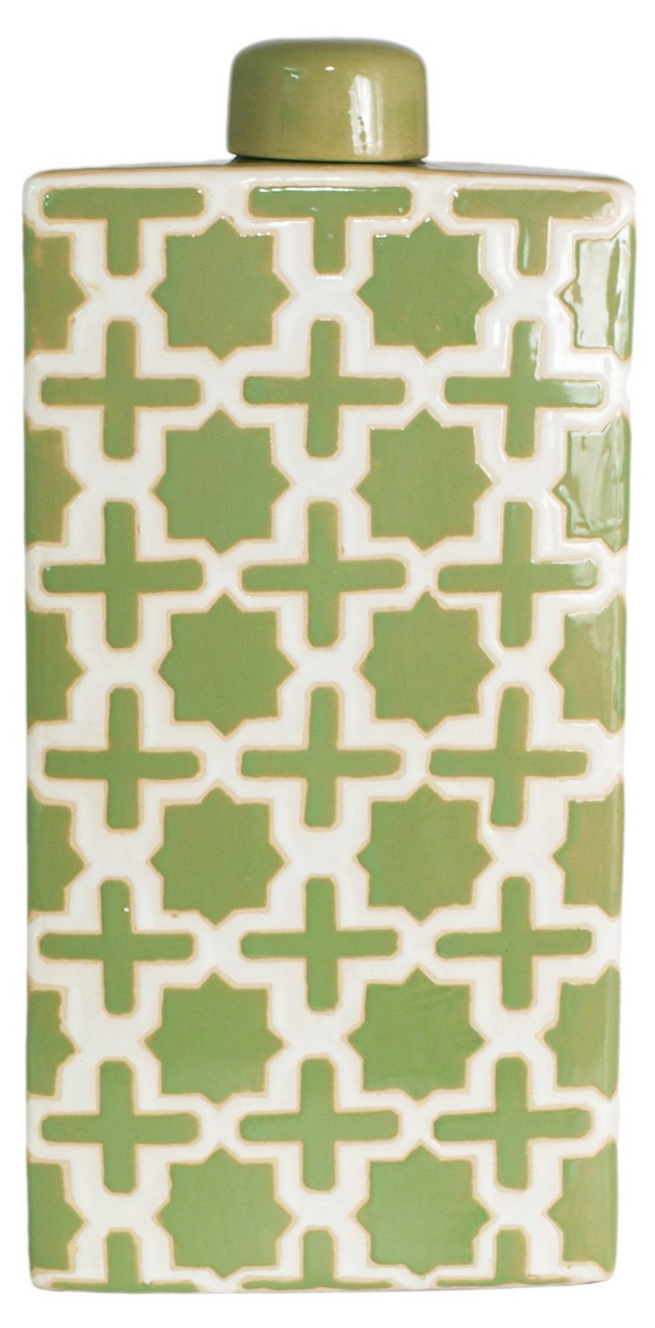 "20"" Trellis Covered Jar, Green"