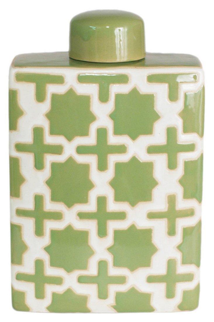 "13"" Trellis Covered Jar, Green"